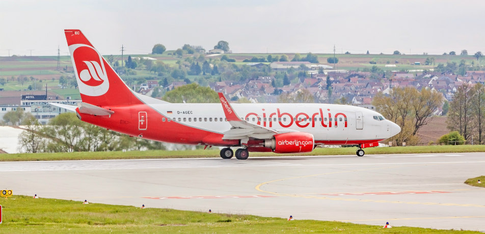 Air Berlin plane at runway before takeoff