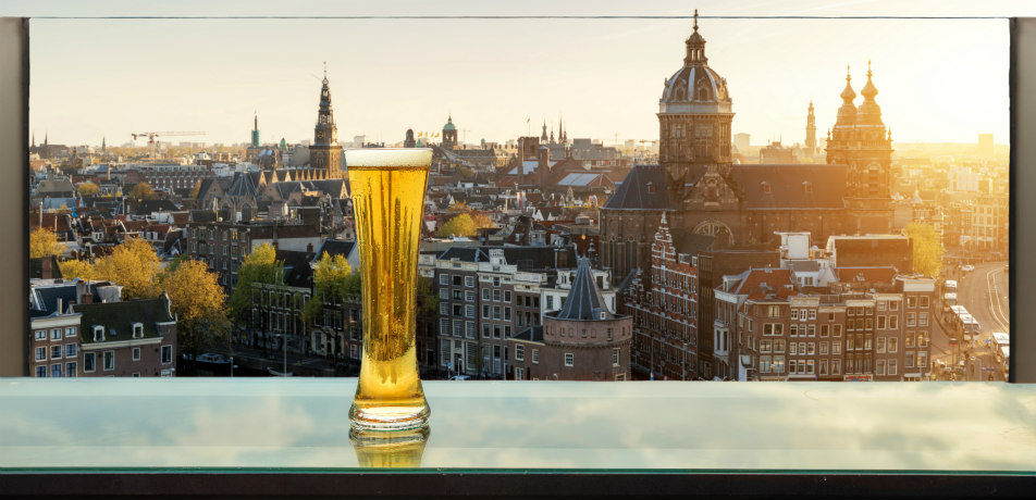 Beer on table in rooftop bar at Amsterdam, Netherlands