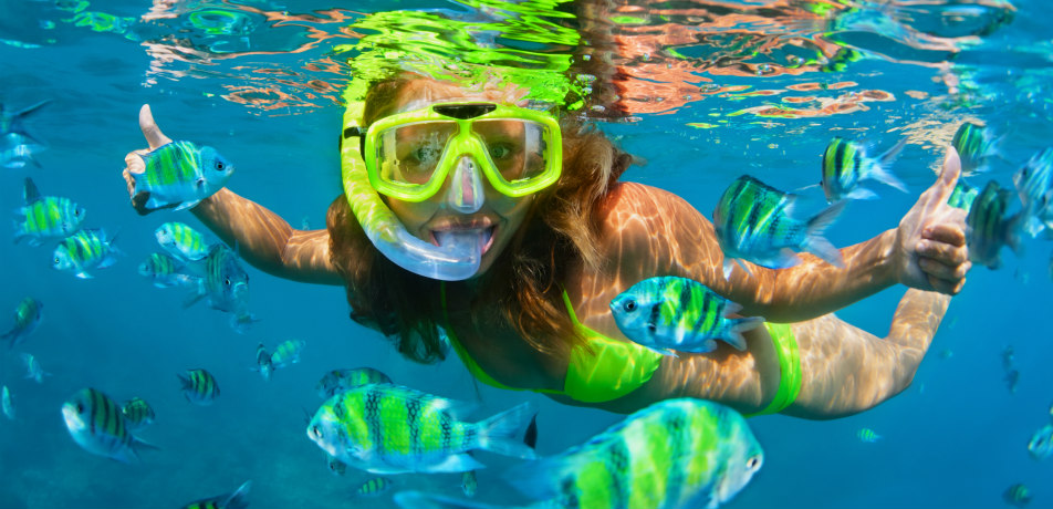 Girl snorkeling in the Caribbean