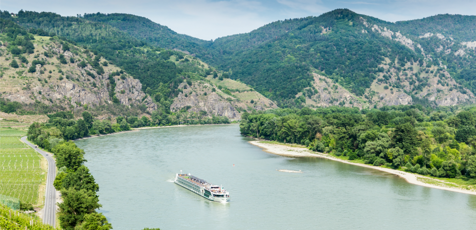 Landscape of Wachau Valley, Danube river, Austria