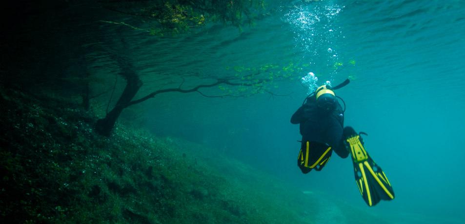Scuba diving in Green Lake, Austria