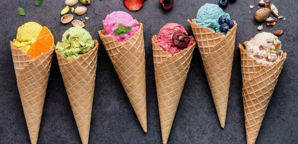 Various flavors of ice cream