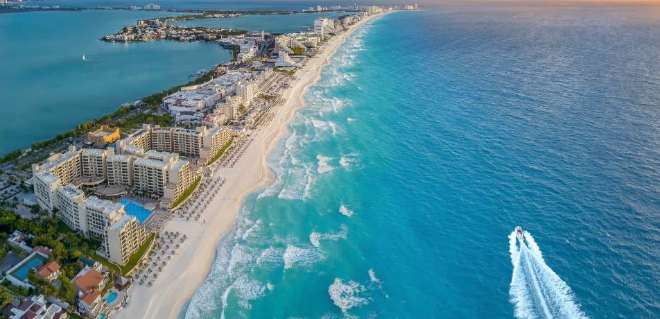 Cancun beach aerial shot