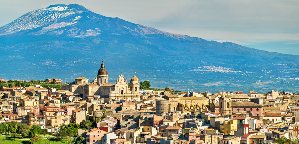 Sicily, Italy with Mount Etna in the backgroun