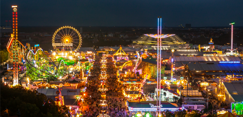 Oktoberfest in Munich at night