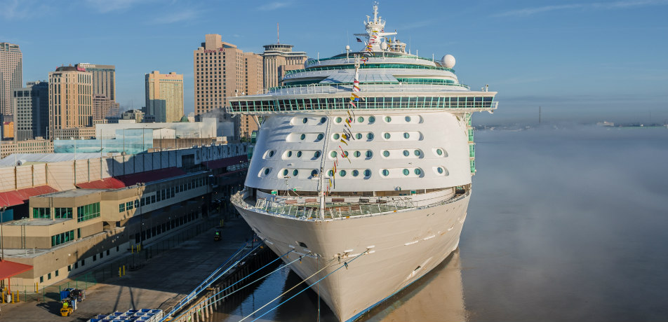 Cruise ship docked, Port of New Orleans