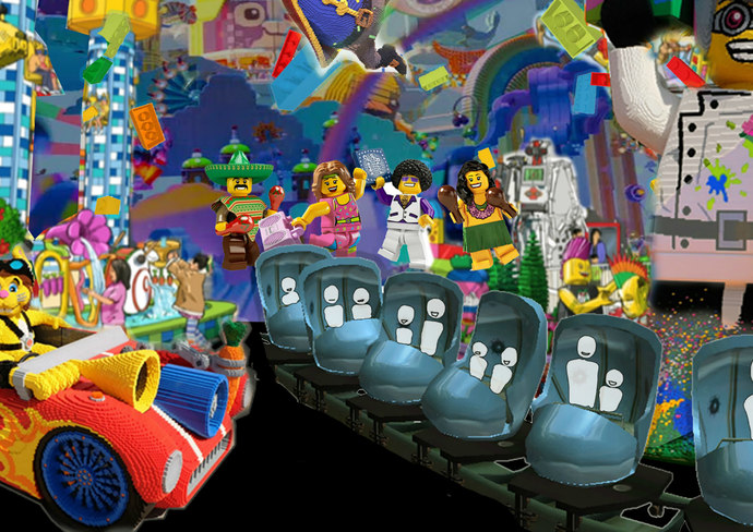 Rendering of the Big Lego Adventure Ride