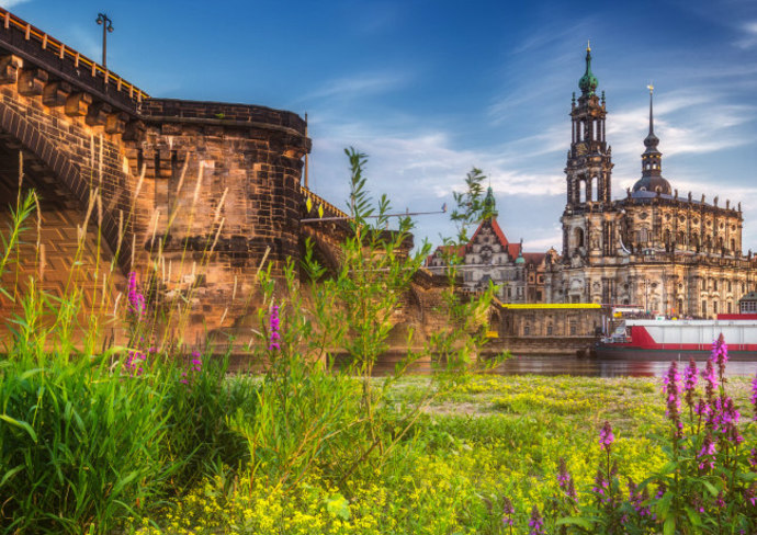 Dresden skyline and the Elbe River