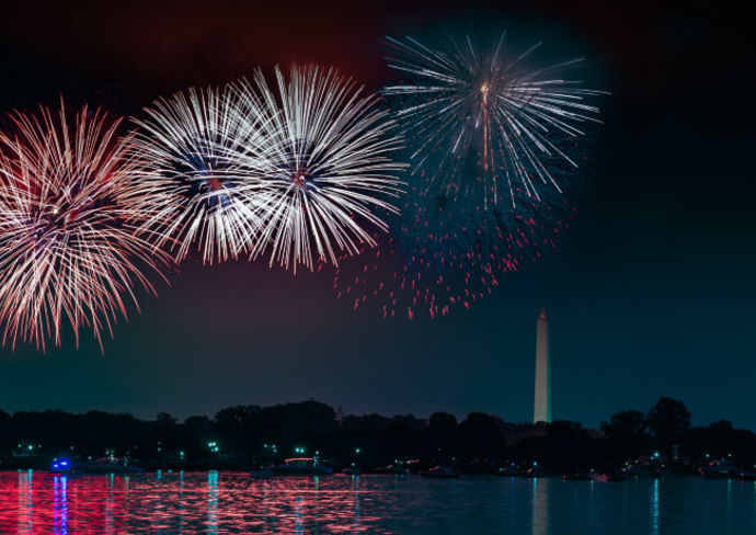 Fireworks on the Potomac River from Alexandria, VA
