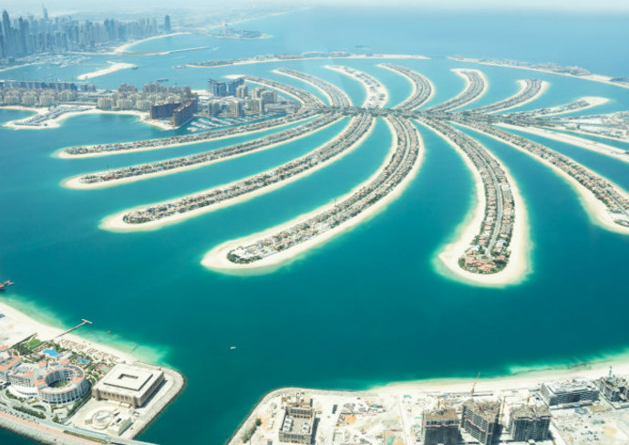 Aerial view of Palm Island, Dubai