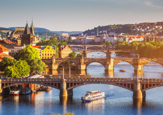 Aerial view of the Old Town pier architecture and Charles Bridge over Vltava river in Prague, Czech Republic