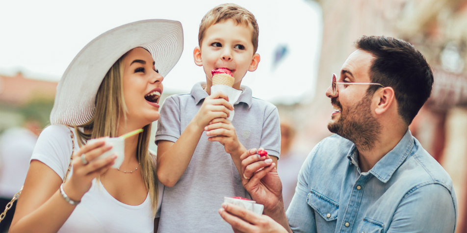 Family enjoying ice cream