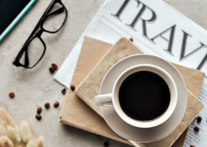 Coffee and books on a desk