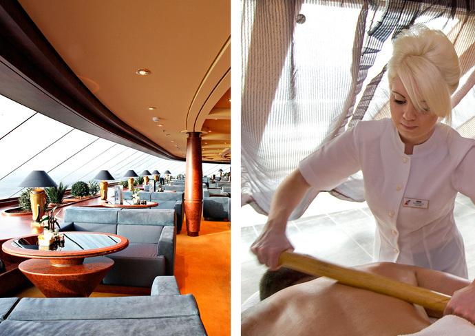 MSC Splendida's Yacht Club (left). Massage therapists at Carnival Magic's Cloud 9 Spa (right).