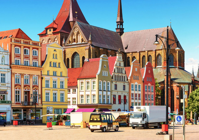 Old Town Market Square in Rostock, Germany