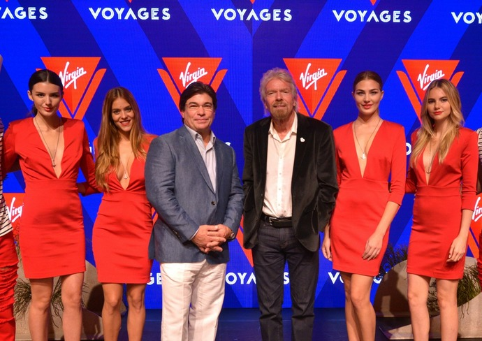 Virgin President and CEO Tom McAlpin and Richard Branson (center)