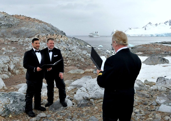 The McCreary's wedding ceremony in Antarctica
