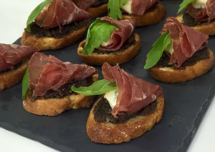 Crostini with bresaola, gorgonzola, and fig compote