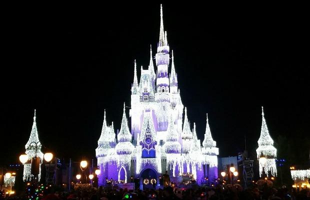 Cinderella Castle's holiday lights