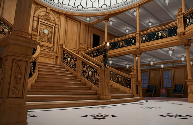 Rendering of grand staircase on Titanic II