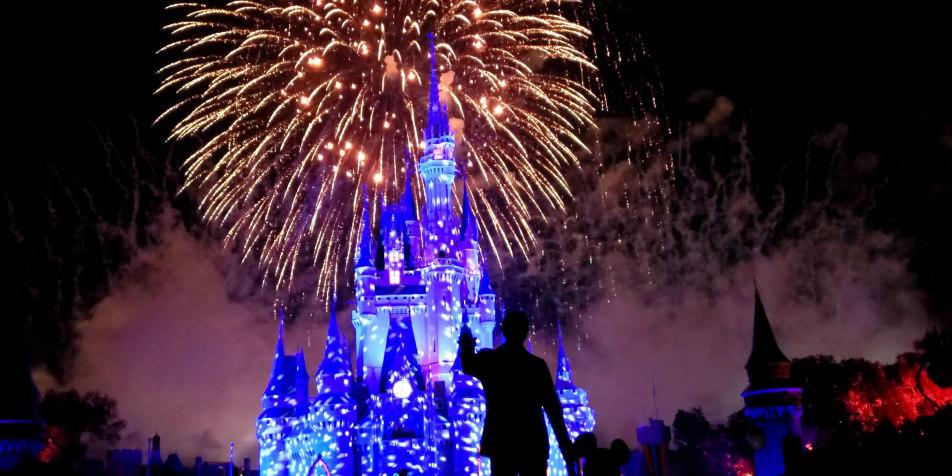 Fireworks in front of Cinderella Castle