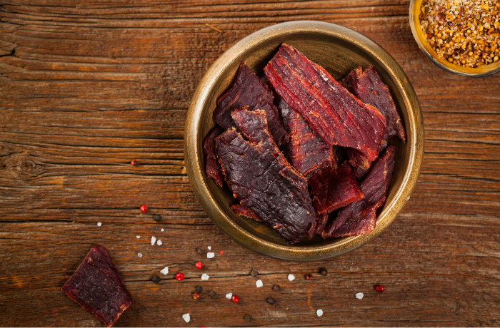 Jerky in a bowl on a table