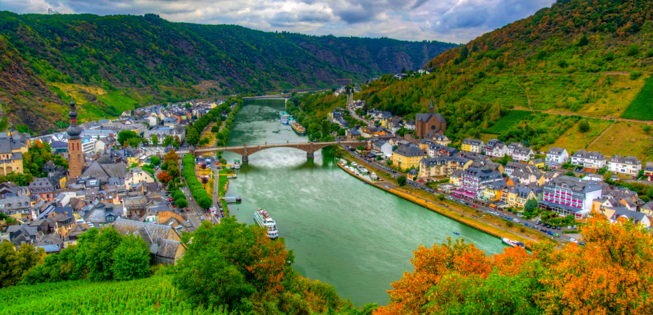 Rhine River aerial view from Germany