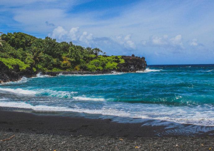 Black-sand beach in Hawaii